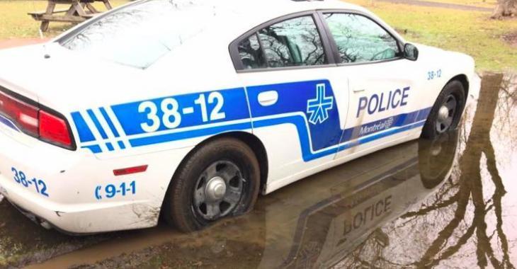 Des policiers du SPVM ont vu leur voiture s'enliser au beau milieu d'un parc!
