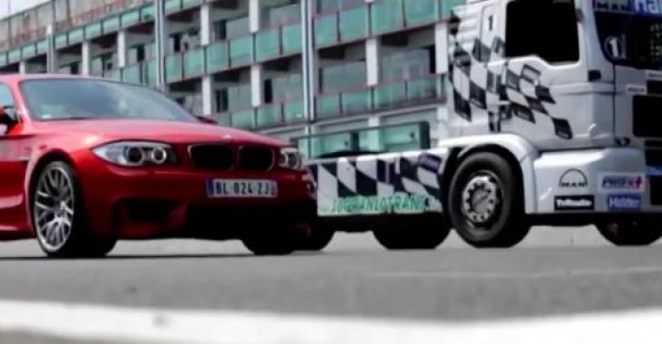 Une BMW 1M vs un camion sur une piste? Un défi fascinant, qui vous laissera sans voix; car le camion n'est pas n'importe quel camion!