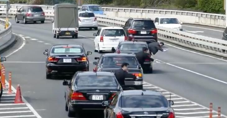 Insolite: la manière de faire ralentir le traffic pour laisser passer le Premier Ministre au Japon....