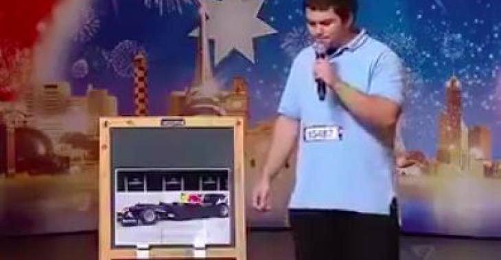 Il imite à la perfection des son de voitures et la réaction du public et des juges est extraordinaire!