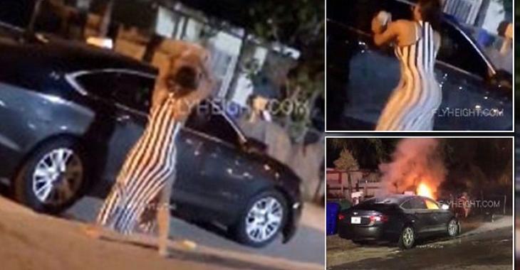 Une femme trompée se venge en détruisant complètement la voiture de son conjoint.